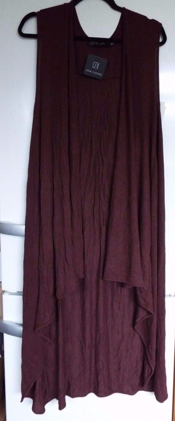 Join Clothes Sleeveless Knit Duster Cardigan 1 size Coffee new & tags