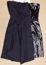 MOSCHINO SILK & SEQUIN STRAPLESS DRESS>BNWT>£800+>GENUINE>BLACK>42it - 10uk>LOVE