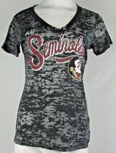 Florida State Seminoles NCAA Women s V-Neck Short Sleeve Sheer Gray ... 3fa7fe62b