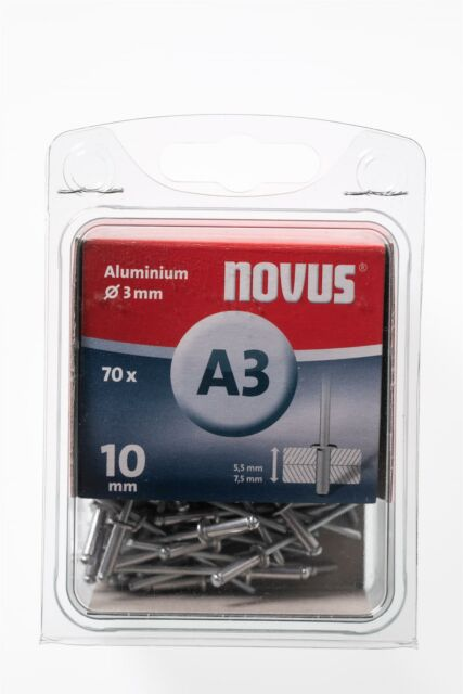 70 Novus Aluminium Rivetage ø4 mm 045-0033 type a4//10mm Nº 10 mm