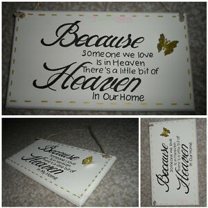 BECAUSE SOMEONE WE LOVE IS IN HEAVEN wooden remembrance memory sign plaque 6x6