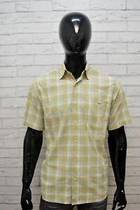 Camicia-Uomo-LACOSTE-Taglia-40-XL-Camicetta-Quadri-Manica-Corta-Maglia-Shirt