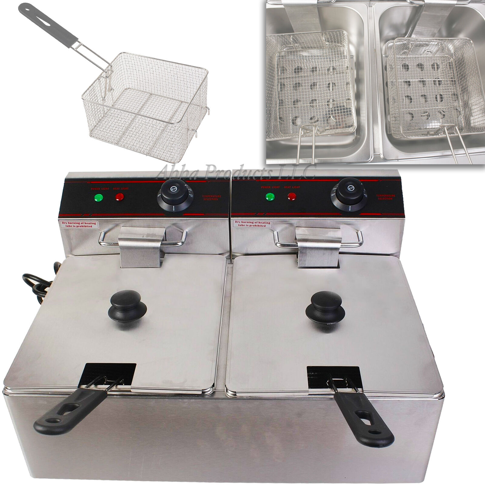 Electric Countertop 5000W Deep Fryer Dual Tank 11L Commercial Restaurant Kitchen