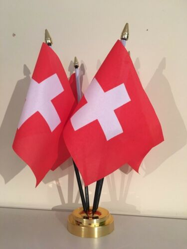 SWITZERLAND TABLE FLAG SET OF 4 FLAGS WITH BASE SWISS