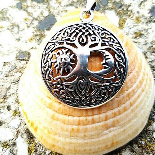 925 Silber Großer  Anhänger Baum des Lebens Yggdrasil mit Mond und Sonne