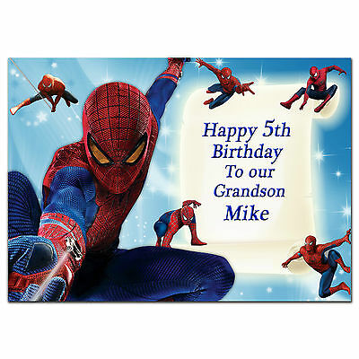 c234 Large Personalised Birthday card Custom made for any name; BATMAN SPIDERMAN