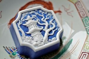 Oriental-Pagoda-Temple-with-Plum-Tree-Soap-Handmade-Soap-in-Lapis-Color