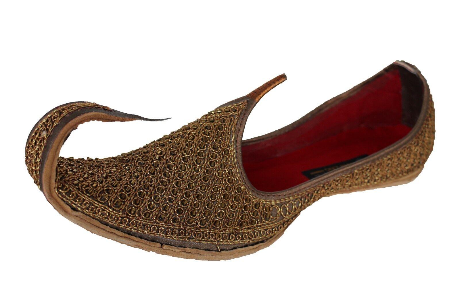 Size 8,9,10, 11 New Indian Men's Antique gold Curl Toe Mojari Khussa Jutti shoes