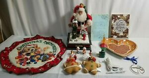 CHRISTMAS Decor & Ornaments Lot TALKING SANTA, Miniature Wood, Recipes jd#59