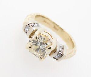 Impressive-1-27ct-Diamond-Set-14k-Yellow-Gold-Dress-Ring-Size-O-Val-8990