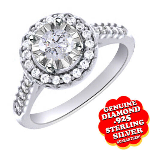 1 10 Ct Round Cut CZ 10K gold Over Halo Engagement Ring Free & Fast Shipping