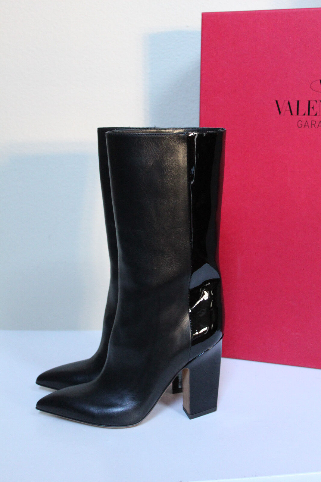 6.5   36.5 Valentino Black Leather & Patent Leather Pointed Toe Tall Boot shoes