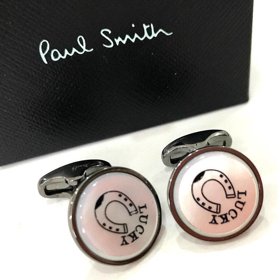 Paul Smith GUNMETAL Cufflinks MOTHER OF PEARL Signature T-bar fastening