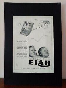 Pubblicità originale Elah anni '30 rifilatura da rivista in passepartout