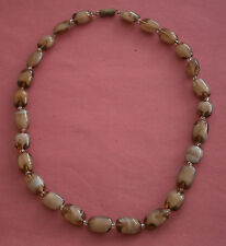 NR370) VINTAGE SCOTTISH BROWN VANETIAN MURANO GLASS FAUX AGATE BEAD NECKLACE