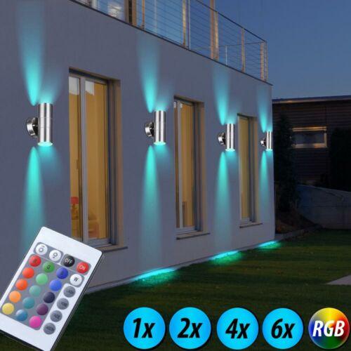 RGB LED Außen Strahler UP DOWN Garten Fernbedienung Edelstahl Wand Spot dimmbar