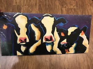 Creative Co op Wood Stretched Canvas Cow Wall Art Diane