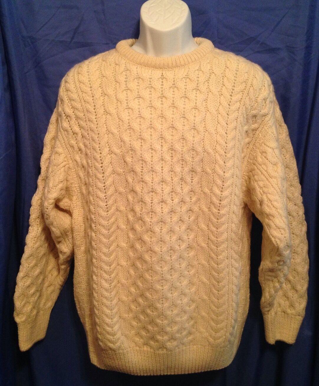 SWEATERS OF IRELAND Men Sz. M NICE 100% New Wool Aran Fisherman Cable Knit EUC