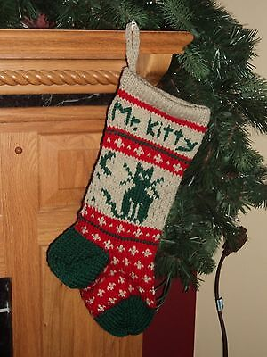 Cat Christmas Stockings.Kitty Cat Christmas Stocking 100 Wool Hand Knit Can Be Personalized Ebay