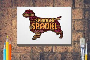 Springer-Spaniel-Art-Print-Giclee-Word-Art-A4-A3-Box-Canvas-A3-A2-A1-size-Gift