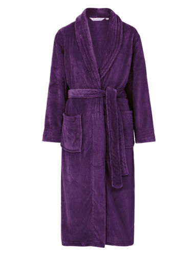 Slenderella Womens Wrap Soft Fleecy Dressing Gown Shawl Collar Ribbed Bath Robe