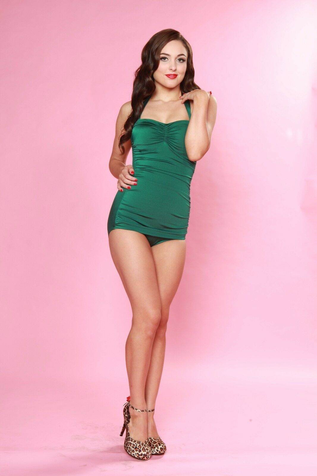 ESTHER WILLIAMS CLASSIC SHEATH GREEN ONE PIECE BATHING SWIM SUIT SWIMWEAR 4-16