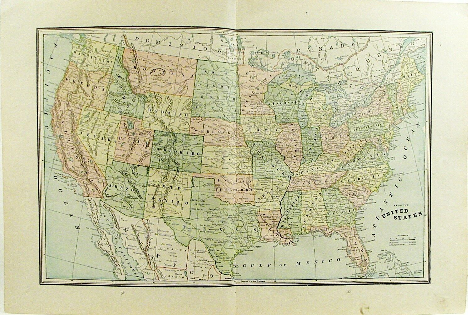 North America Maps Maps Atlases Globes Antiques - 1890 map of us