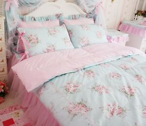 Image Is Loading Princess Shabby Chic Floral Blue Duvet Comforter Cover