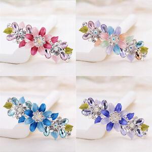 Women Ladies Flower Crystal Rhinestone Hair Clips Hairpin Barrette Jewelry