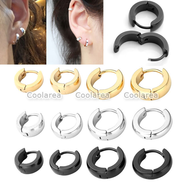 4 Pair Mixed Size Steel Hoop Ear Helix Ear Hoop Stud Earrings Huggies Piercing