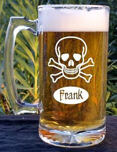 Pirate Skull Mug Sea of Thieves Inspired Personalized Wooden Beer Mug Stein