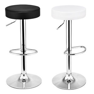 1 Pc Round Leather Seat Chrome Leg Adjustable Hydraulic