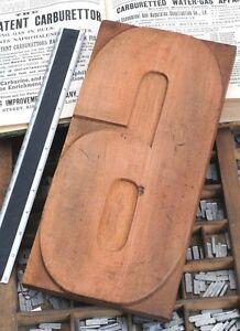 """12.48"""" giant number: 6 rare unused wood type letterpress printing block woodtype"""