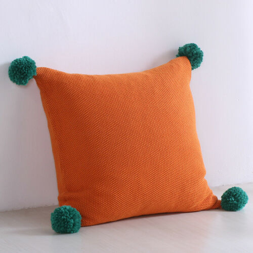 Decorative Cozy Hairball Knit Throw Pillow Cover Cotton Super Soft Warm Pillow
