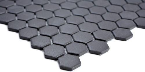 Mosaico baldosa cerámica Negro Hexagon uni negro unglasiert wb11a-0304-r10