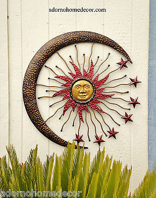 Large Metal Celestial Moon Sun Decor Garden Art Indoor Outdoor Patio Wall Decor