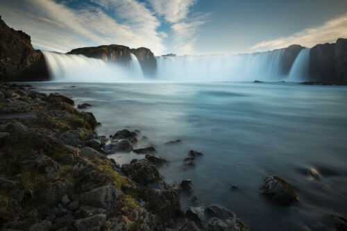 Godafoss Waterfall Iceland Photo Art Print Poster 18x12 inch