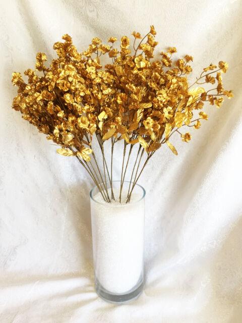 12 babys breath ivory gypsophila silk wedding flowers centerpieces 12 babys breath gold gypsophila silk wedding flowers centerpieces fillers mightylinksfo