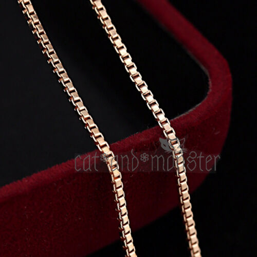 9K ROSE GOLD GF SOLID WOMEN GIRLS BOX CHAIN THIN NECKLACE for Pendant Charm GIFT