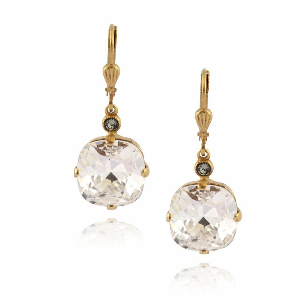 La Vie Parisienne gold Plated Round Dangle Earrings Crystal, Clear