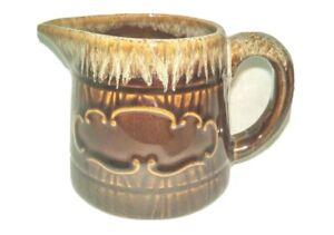 STONEWARE-Brown-Glazed-Vintage-Pottery-Creamer-Syrup-Pitcher-Tableware-EUC