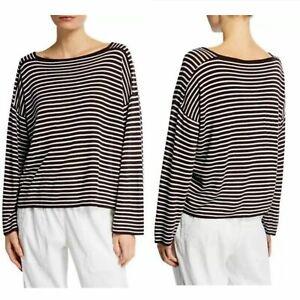 Eileen-Fisher-Women-Top-Seamless-Sleek-Tencel-Stripe-Brown-Relaxed-Size-S