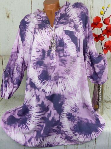 Bluse Shirt Retro Hemd Tunika Fischerhemd Oversize Baumwolle Lila XXL 48 50