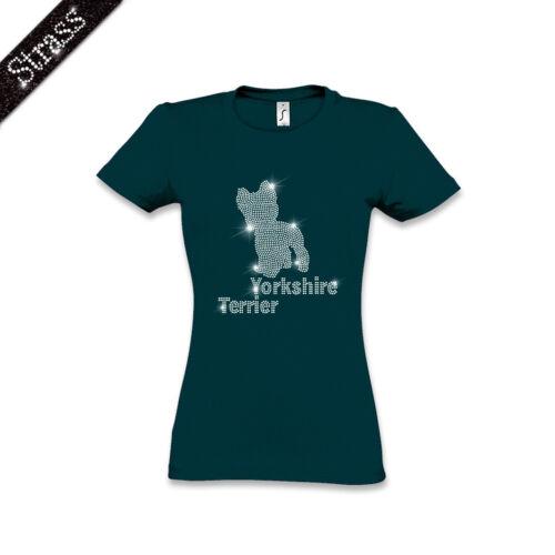 Damen T-Shirt Baumwolle Strass Strasssteine Strassbild Hund Yorkshire Terrier M1