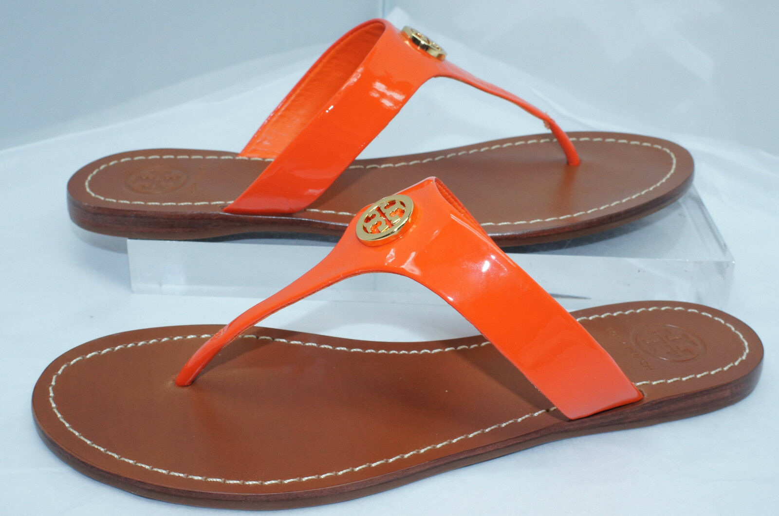 New Tory Burch Cameron Sandals Sandals Sandals Thongs chaussures Taille 6.5 Orange 635ac1