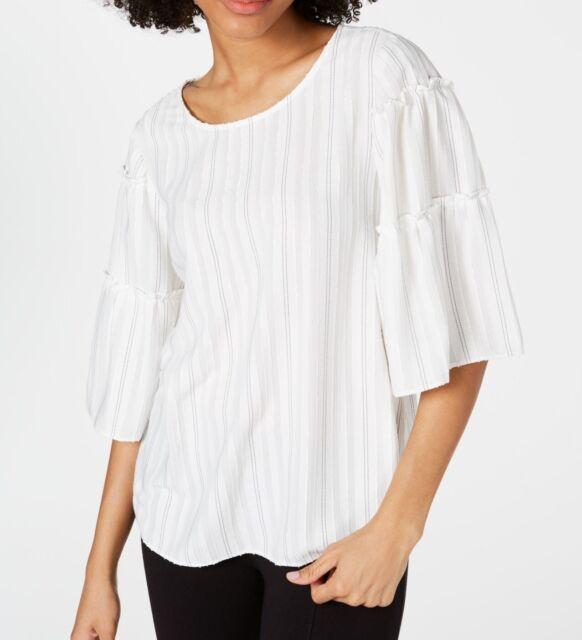 Alfani Women's Blouse White Size Small S Textured Stripe Scoop-Neck $59- #010