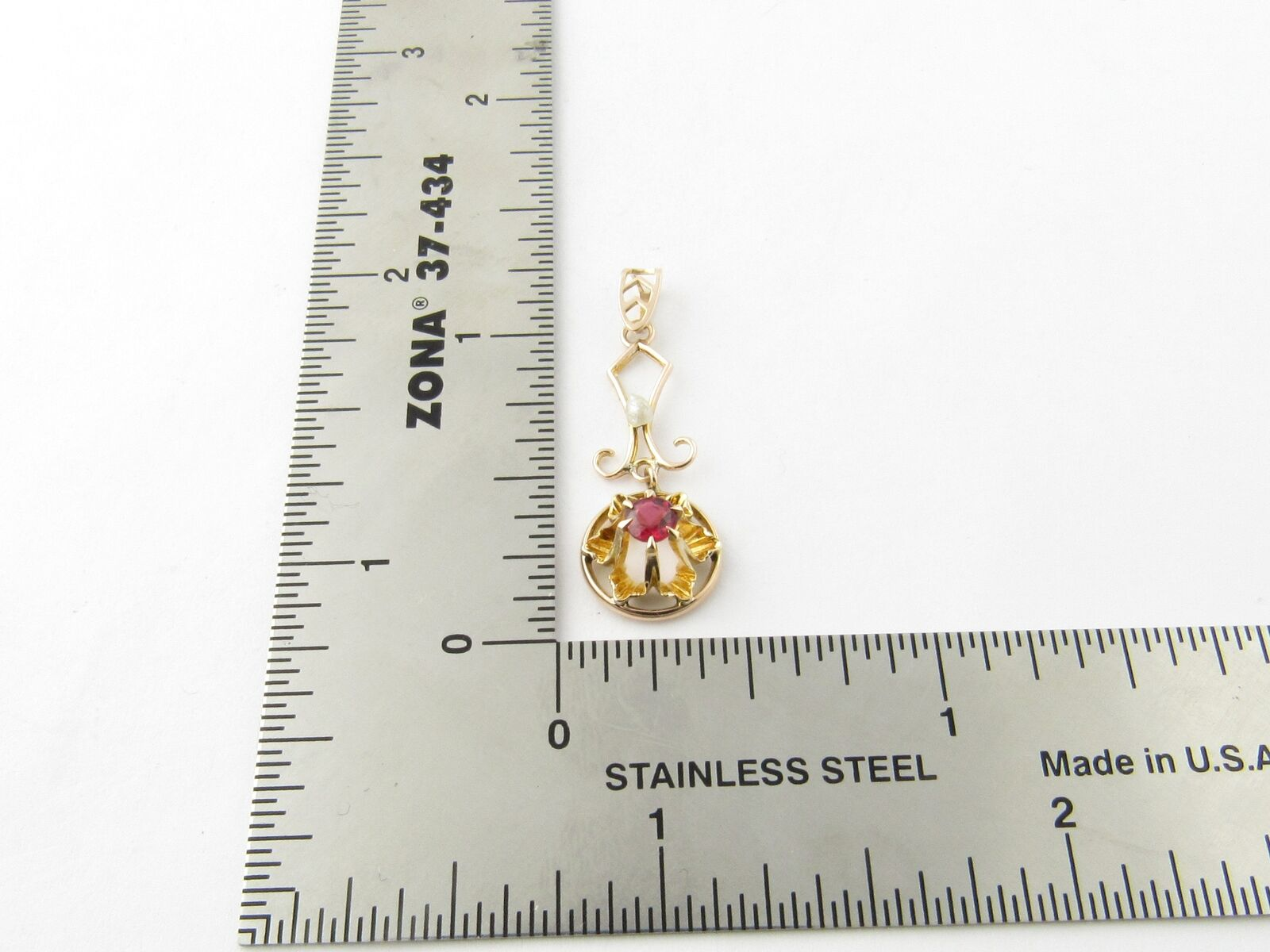 Vintage 10 Karat Yellow Gold Synthetic Ruby and P… - image 5