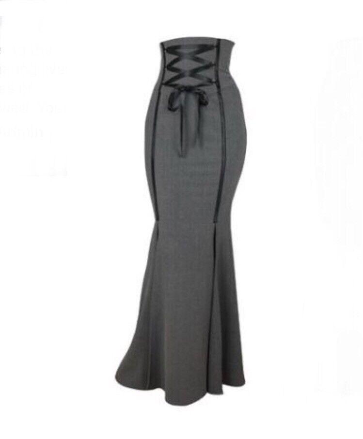 Grey Mermaid Fishtail Corset Goth Steampunk Skirt Sz Small NWT