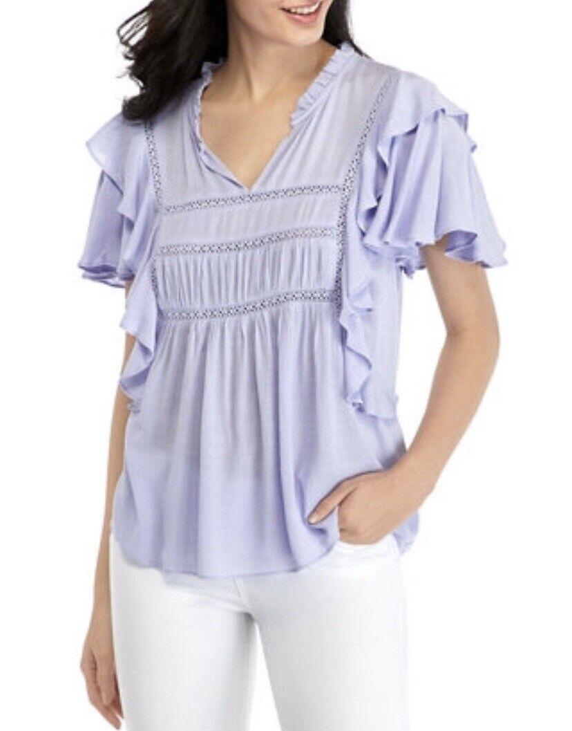 Cupio Lilac Purple Ruffle Lace Trim Boho Blouse XL - image 1