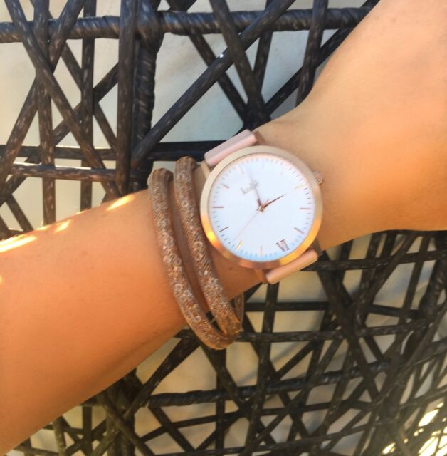 GENUINE Kohë Rose Gold Watch With Peach Leather Women's Water Resistant 316L
